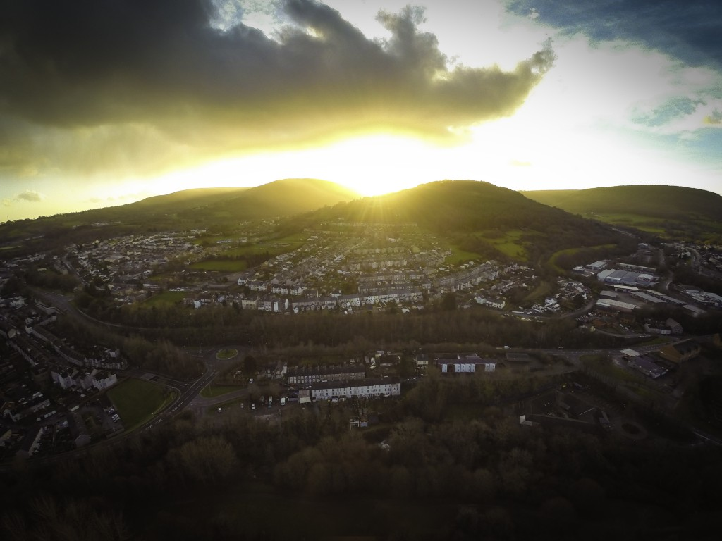 Aerial Photography in Christmas day in Pontypool, South Wales