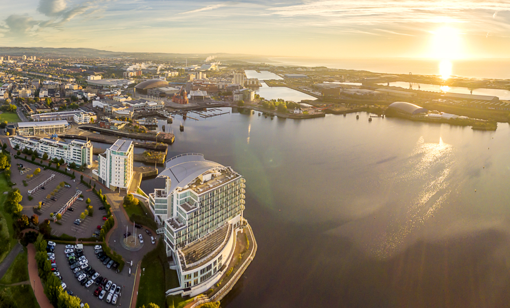 Cardiff Bay, South Wales. Stock aerial drone footage.