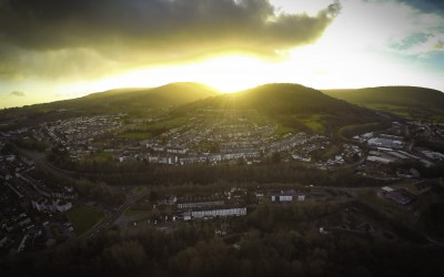 Sunset in Pontypool on Christmas day. Aerial photography before dinner!