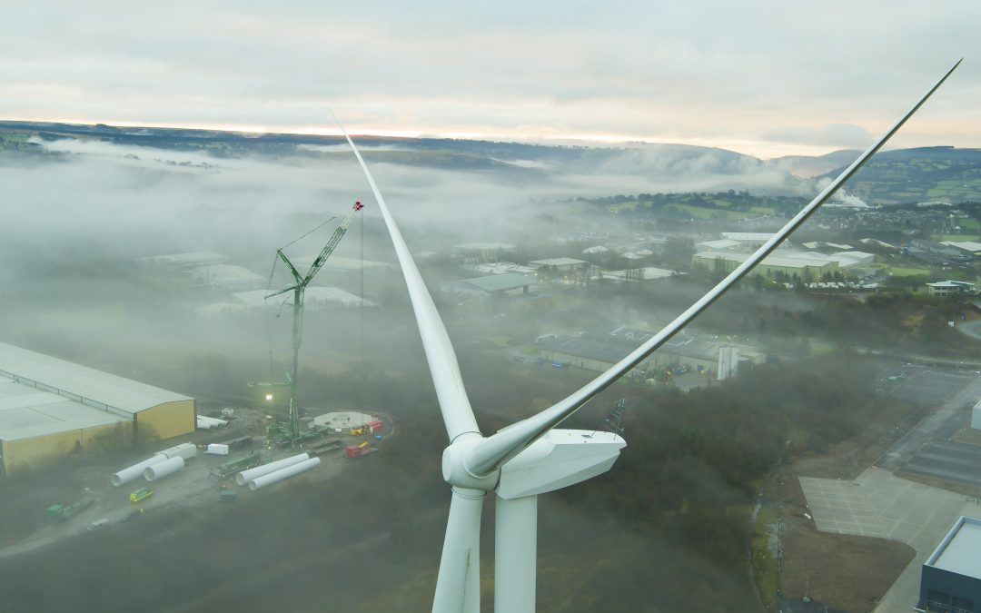 Wind Turbine Filming and Aerial Photography. Blackwood, South Wales.